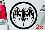 León de Folien 2 pegatinas vampiro 8 x 8 cm murciélago Bacardi Rum Auto Adhesivo Adhesivo Adhesivo Adhesivo de pared tatuaje Tuning brillante pantalla en negro – 2 unidades
