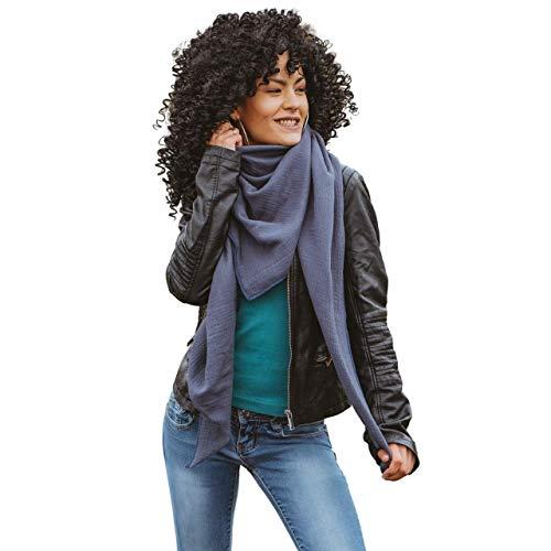 XXL Musselintuch Tuch jeans jeansblau Mummelito Halstuch Musselin Damen unisex Dreieckstuch Schal Herren Männer Frauen Farbwahl 21 Farben