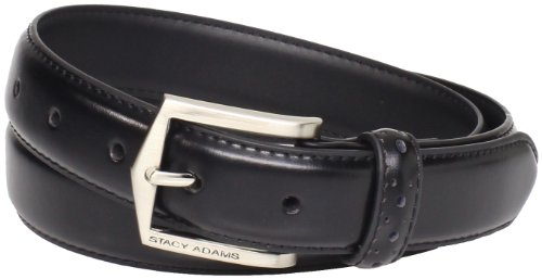 Stacy Adams Men's 30 MM Pinseal Leather Belt with Brushed Nickel Buckle, Black, 40