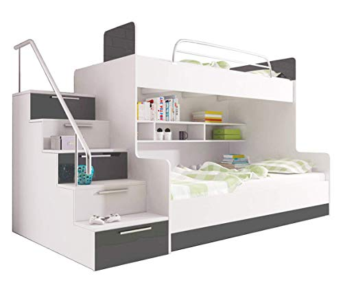 Bunk Bed LUNA for 2 children Stairs Functional Design High Gloss Inserts Shelves Rail (White with Grey Details)