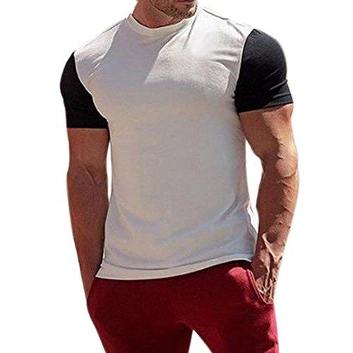 FORH Herren Sommer Casual Oberteile V-Ausschnitt Solid T-Shirt Basic Kurzarm Streetwear Sport Top Fitness Kleidungen Bluse Rundhals Atmungsaktives Unterhemd (XL, Weiß)