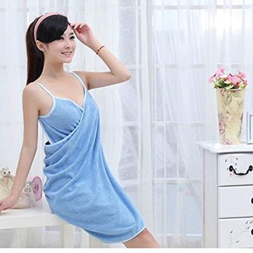 YHWW Toalla de baño,Toalla Textil para el hogar Batas de Mujer Toalla de baño para Vestir Vestido para Mujer Dama de Secado rápido Beach SPA Ropa de Dormir mágica para Dormir, Y54, Azul, 70x