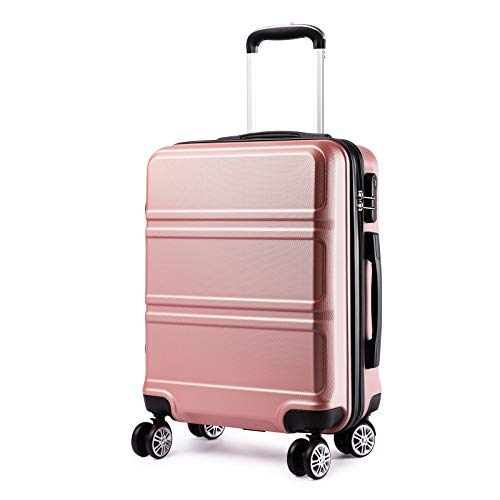 Kono Carry-On luggage with 4 Spinner wheels Small hardside Suitcases travel bags for women 20 inch Rose Gold