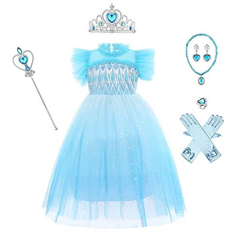 OBEEII Ragazze Elsa Vestito Carnevale Principessa Costume Frozen Manica Lunga Compleanno Cosplay Party Halloween Natale Fancy Dress Up Costume + Accessori