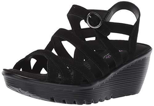 Skechers Women's Parallel-Three Strap Buckle Slingback Wedge Sandal, Black, 6 M US