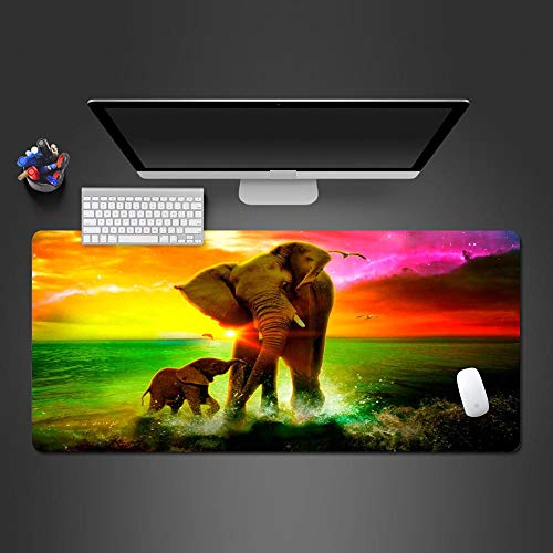 JIACHOZI mousepads Creative Colorful Animal Elephant 800×300×3mm Large Gaming Mouse Pad with Stitched Edges, Extended Mousepad with Superior Micro-Weave Cloth, Non-Slip Base, Keyboard Pad,