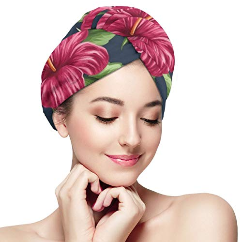 Bettiboy Tropical Hawaii Flowers and Plants Microfiber Hair Towel Wrap for Women Super Absorbent Quick Dry Hair Turban for Drying Curly Spa Towel 11¡±