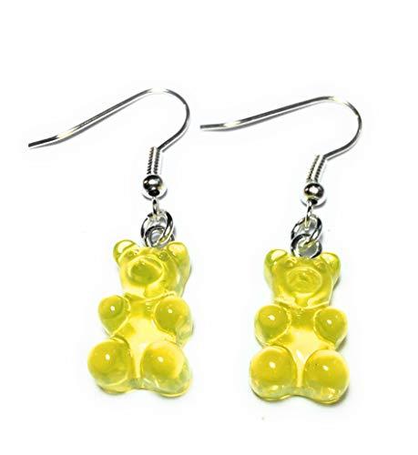 FizzyButton Geschenke scheinend gelbes Harz Gummibärchen/Gummibärchen Tropfenohrringe mit versilberten Ohrhaken