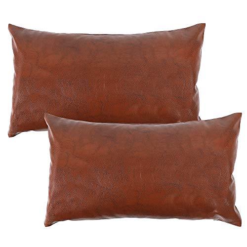 CDWERD 2 fundas de almohada de piel sintética modernas, 12 x 20 pulgadas, rectángulo de la granja, funda de cojín decorativa para sofá cama