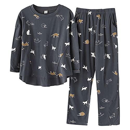 Gbrand Nouveau Printemps Automne Pyjamas Ensembles Pyjamas à Manches Longues Femmes Dessin animé Chat Pyjamas pour Femmes 2 pièces/Ensemble décontracté Pijama-M_40-50KG