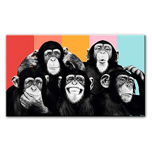 """Cuadros de lienzo de arte de pared Monos divertidos Pinturas de lienzo en la pared Carteles e impresiones Animales modernos Decoración de la habitación de los niños 60x120cm (23.6 """"x47.2"""") Sin marco"""