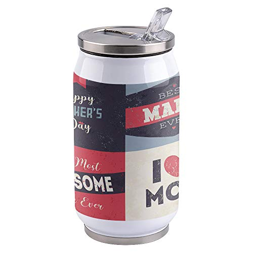 Vacuum Insulated Water Bottle Mother's Day Best Mama Ever Stitching Double Wall Stainless Steel Commuter Water Bottle Leak Proof Wide Mouth Durable Portable Kids Cup, 10oz