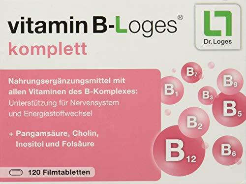 vitamin B-Loges® komplett Nahrungsergänzung - 120 Tabletten, Komplex aus allen B-Vitaminen und Vitaminoiden, Vitamin B1 B2 B3 B5 B6 B7 für Nerven und Energiestoffwechsel
