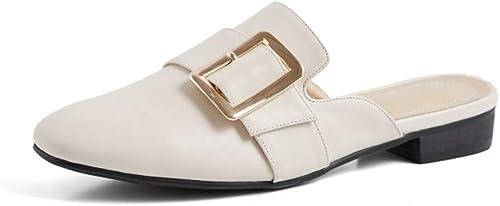 HENRYY Printemps et été Nouvelle Mode Sauvage Baotou métal Boucle Boucle Demi Pantoufles Décontracté Chaussures Plates femmes-off-blanc-42