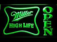 Miller High Life Open LED看板 ネオンサイン ライト 電飾 広告用標識 W60cm x H40cm グリーン