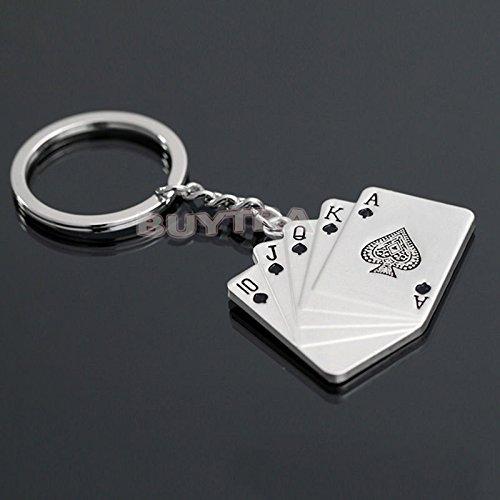 Lsmaa Ring Sleutelhangers Sleutelhanger Pendent Poker Royal Flush Mooie Sleutelhangers