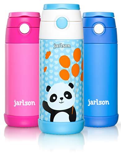 Jarlson Botella Agua sin bpa niños   Botellas Agua Acero Inoxidable - termica   a Prueba de Fugas   para la Escuela y Deportes   el Termo   350 ml