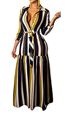 Women Sexy V Neck Long Sleeve Button Down Striped Shirts Dress Maxi Dresses with Belt Plus Size
