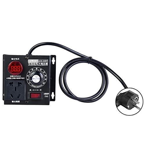 Regulador Velocidad Motor 220V, AC 220V 4000W Regulador de voltaje SCR de alta potencia, Controlador de velocidad del ventilador del motor, Controlador de termostato con atenuador(220V EU Plug)
