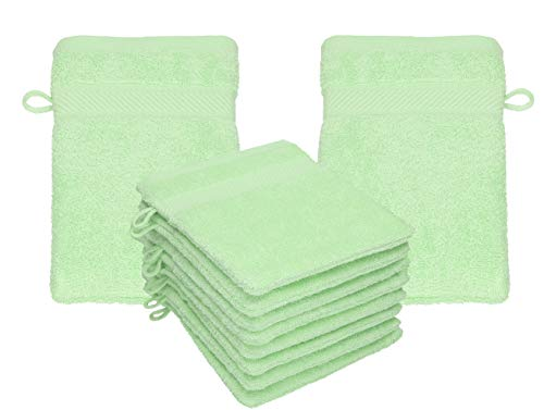 Betz 10 Stück Waschhandschuhe Palermo 100% Baumwolle Waschlappen Set Größe 16x21 cm Farbe grün