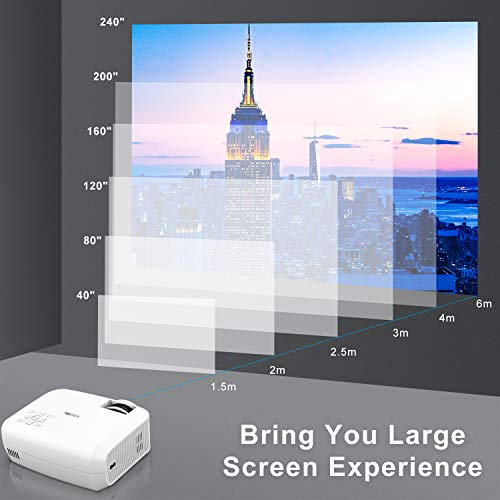 "TOPVISION Mini Beamer, Native 720P Heimkino Beamer Unterstützt 1080P Full HD, 5000 Lumen Video Beamer mit 240"" Display, 60000 Stunden LED Projektor Kompatibel mit HDMI/USB/SD/AV/VGA - 4"