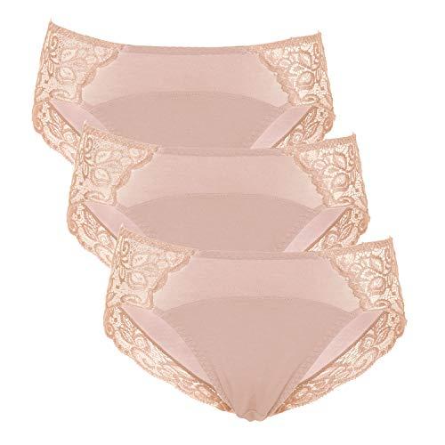 Intimate Portal Damenslips Leichte Absorbierende Menstruation Slip Unterhose Für Periode Perioden Unterwäsche Spitzenhöschen Beige 3er-Packs S
