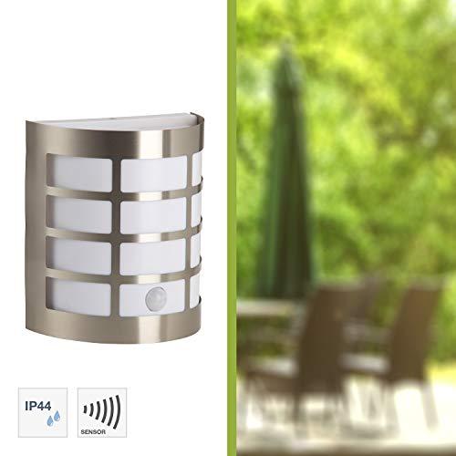 Brilliant 96183/82 Rune Außenwandleuchte mit Bewegungsmelder, 1-flammig, E27, 60 W, LED geeignet, Metall/Kunststoff, IP44, spritzwassergeschützt