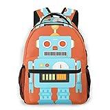 Laptop Rucksack Schulrucksack Spielzeugroboter Herz Charakter, 14 Zoll Reise Daypack Wasserdicht für Arbeit Business Schule Männer Frauen