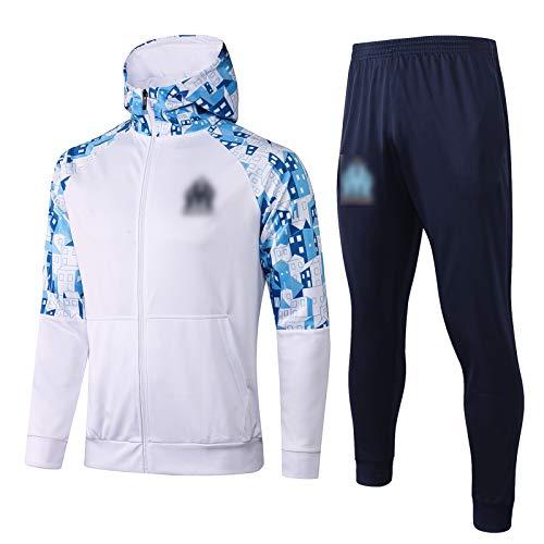 XJK 20-21 Marseille Football Training Anzug, langärmeliger Herbst- und Winter-atmungsaktiver Hochhals-Trainingsanzug Vormessender Aufwärm-Anzug (Jacke + Pants) (S-XXL) White-L