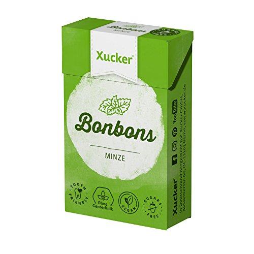 Xucker 50 G Xylit-Bonbons menta – caramelle per la cura dei denti prive di zucchero – con aroma naturale, ideale per la dieta consapevole di carboidrati – Made in Germany – privo di Gentechnik