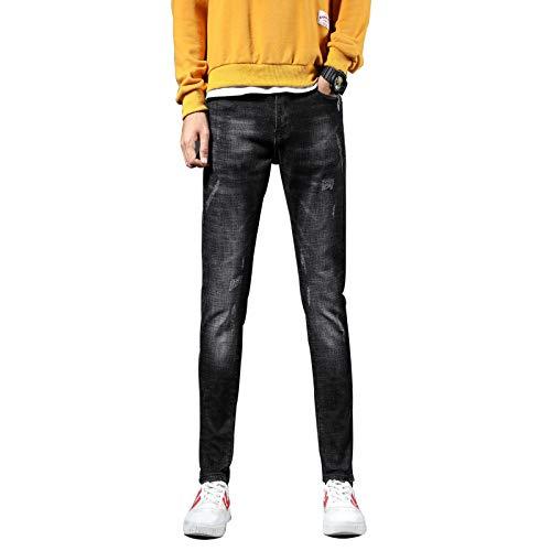 Beastle Pantalones Vaqueros para Hombre Primavera y otoño Nuevos Pantalones de Mezclilla Casuales Rectos Pantalones Vaqueros del Todo fósforo de Moda Retro Europea y Americana 31W