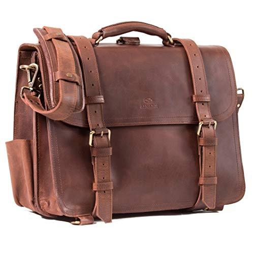 ALMADIH Leder Multifunktionstasche Walker Aktentasche, Rucksack + Umhängetasche in einem! Handgefertigt Robustes Premium Rindsleder braun Vintage Sattlerqualität - Laptoptasche Lehrertasche (Walker)