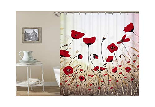 Aeici Duschvorhang 165X200 cm Blumen Polyester Bad Vorhang Anti-Schimmel Rot Duschvorhang für Badezimmer