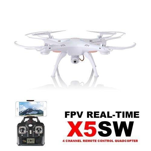 WayIn Syma X5SW Explorers WiFi FPV Tempo Reale RC Quadricottero 6 assi Flip 3D Volo UFO RTF Bianco + FreeGift Batteria 3.7V 600mAh