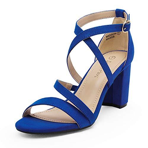 DREAM PAIRS Women's Royal Blue Suede Open Toe Cross Strap...