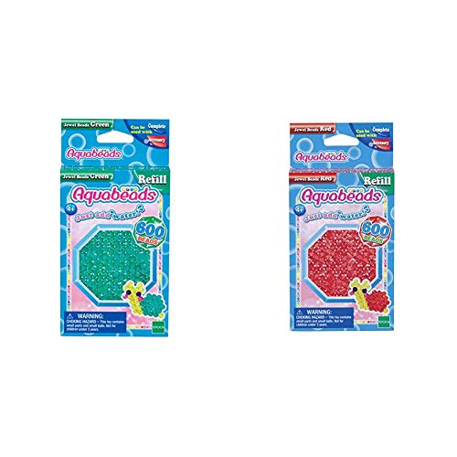 Aquabeads 32698 Glitzerperlen Bastelperlen nachfüllen grün & 32668 Glitzerperlen Bastelperlen nachfüllen rot