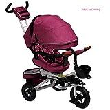 YLET Bicicleta de bebé Plegable para niños Triciclo reclinado para Trolley...