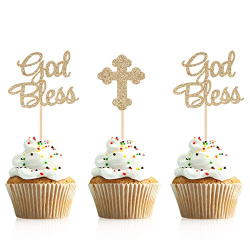 Donoter 48 Pieces Glitter God Bless and Cross Cupcake Topper Picks for Baptism Party Decorations