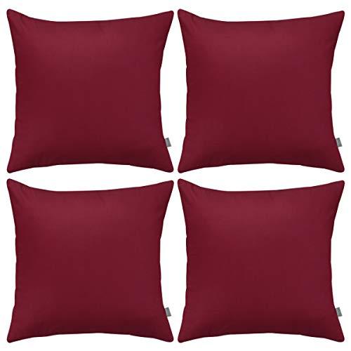 4er Pack Baumwoll-Kissenbezug, bequem, robust, quadratisch, Kissenbezug (nur Bezug, keine Füllung) (40 x 40 cm, weinrot)