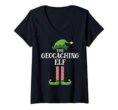 Mujer Geocaching Elf Matching Family Group Christmas Party Pajama Camiseta Cuello V