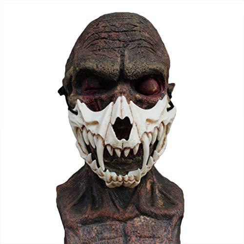 QWEASZER Schädel Maske Drachen Gott Maske Tiger Maske Harz Maske Halloween Teufel Horror Maske Männer Horror Maske Film Scary Maske für Erwachsene Cosplay,B-OneSize
