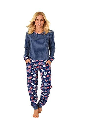Toller Damen Schlafanzug Pyjama Hausanzug lang mit abgesetzten Bündchen 61847, Farbe:Marine, Größe2:52/54