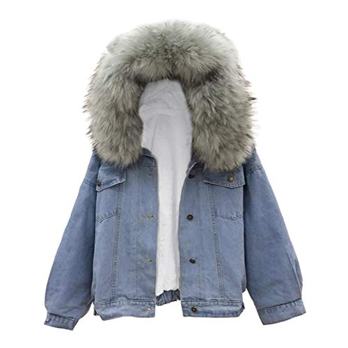 Tomwell Gefütterte Jeansjacke Damen mit Fellkapuze Denim Jacket Kapuzenjacke Herbstjacke Damen Mantel Winterjacke Outwear Dunkelgrau 38