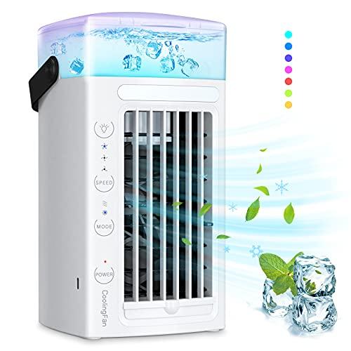 Aire Acondicionado Portátil Ninonly 3 en 1 Mini Enfriador de Aire, Aires Acondicionados Móviles, Climatizador Evaporativo Ventilador con 3 Velocidades y 7 Colores LED Luz Hogar/Oficina (Blanco