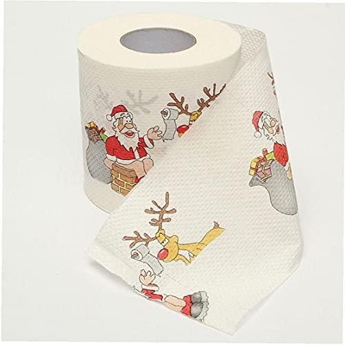 Odoukey-Papel de invierno de la impresión de Papá Noel Papel de papel higiénico Papel de tejido para el hogar Baño Web Año Nuevo Decoración del hogar