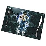 LIUYAN - Set di 6 tovagliette all'americana lavabili, motivo: Dragon Ball Super Vegeta, per tavolo da pranzo