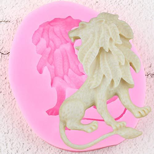 N/ A 3D Löwe Silikonform Tiere Fondant Formen DIY Kuchen Dekorationswerkzeuge Keks Backen Süßigkeiten Fimo Ton Schokolade Gumpaste Formen