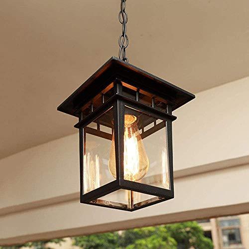 Reisx Noir Grand Vintage industriel Pendentif Lampe de suspension étanche IP23 E27 extérieur en aluminium en verre Suspension Lanterne traditionnelle Gazebo Villa Raisin rack Corridor Décor, 24.5 * 28