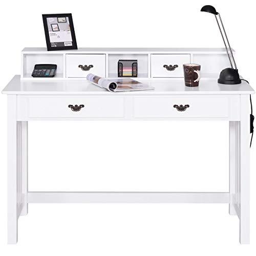COSTWAY Escritorio con 4 Cajones Mesa para Computadora con Parte Superior Removible Mesa de Trabajo de Madera Mesa Consola para Oficina Hogar Maquillaje