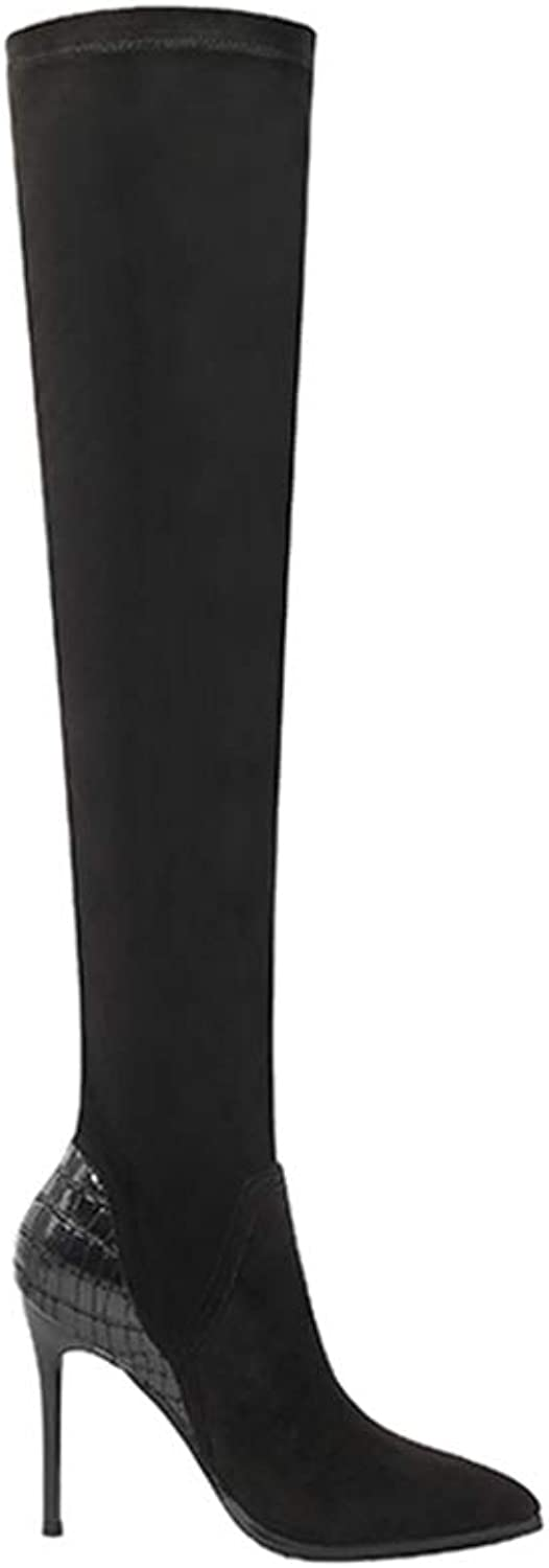 Women's Sexy Boots Over Knee High Heel Autumn Winter Fashion Pointed Toe Thin Heels Thigh High Long Thin Leg Boots